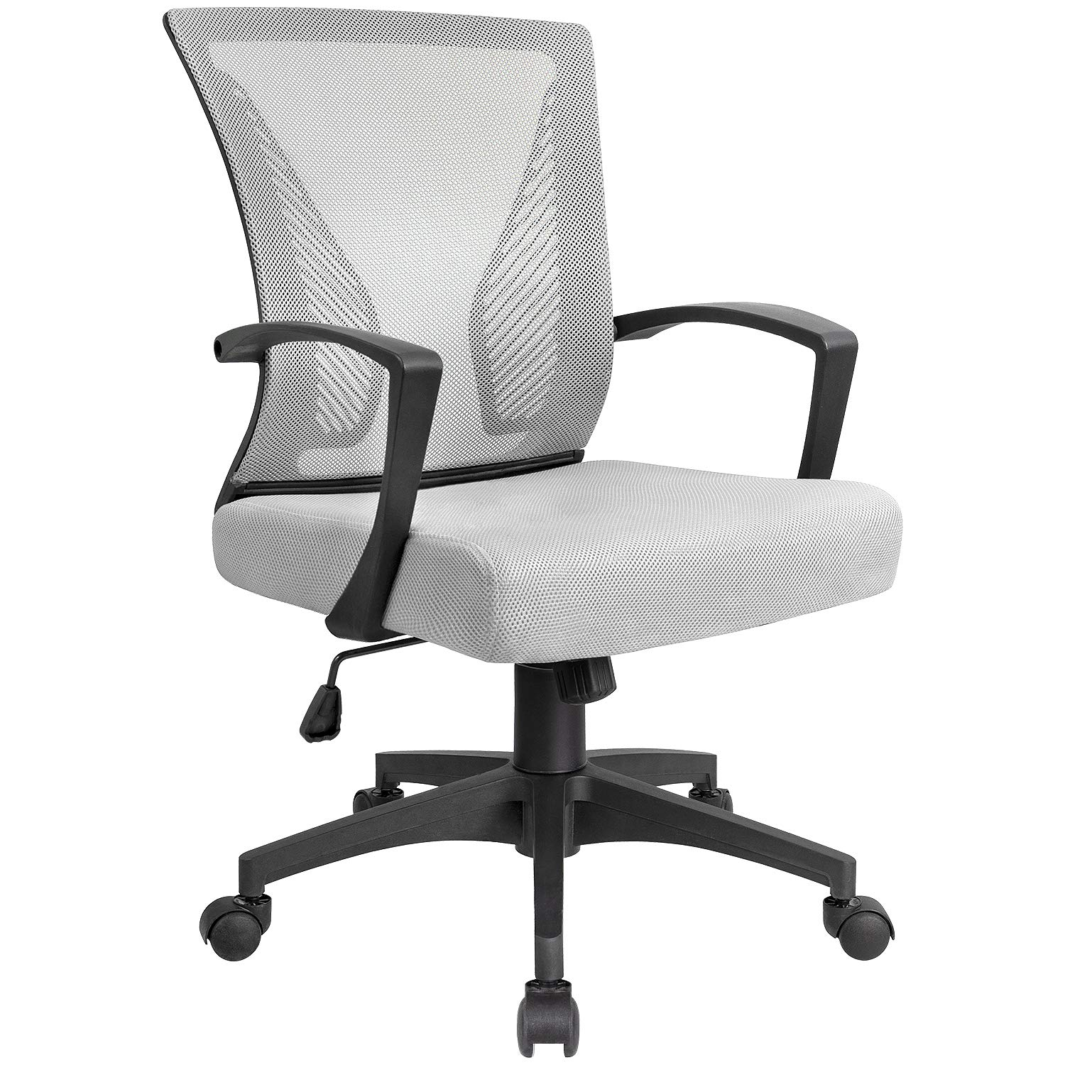 AmazonBasics Classic Adjustable Office Desk Chair – Twill Fabric, Beige, BIFMA Certified