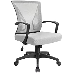 KaiMeng Mid Back Office Chair Ergonomic Computer Chair Desk Chair with Lumbar Support (Gray)