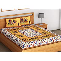 SheetKart Elephant Printed Traditional Jaipuri 144 TC Cotton Bedsheet with 2 Pillow Covers