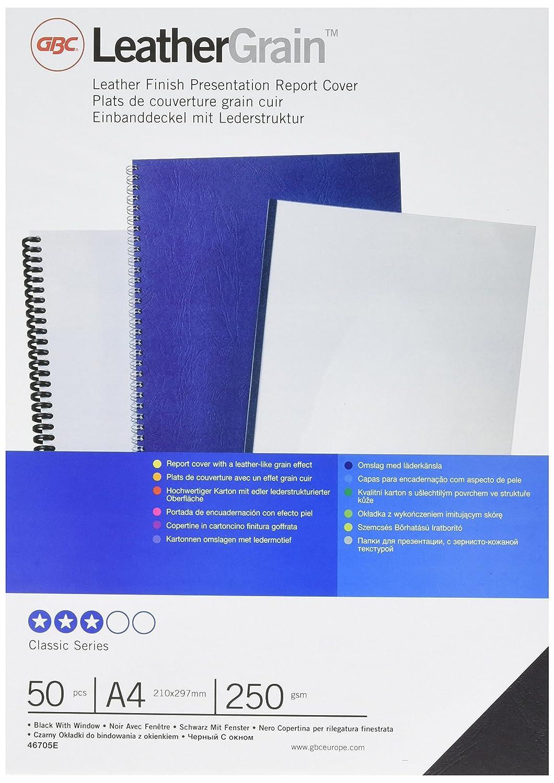 GBC Portadas Leathergrain ventana 250 grs. A4 blanco (50) - Cubierta (A4, Color blanco, 50 pieza(s)): Amazon.es: Oficina y papelería