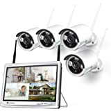 HeimVision HM243 1080P Wireless Security Camera System with 12 inch LCD Monitor, 8CH NVR 4Pcs Outdoor/Indoor WiFi Surveillanc