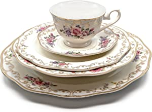 "Royalty Porcelain""Ruby Rose"" 5-Piece White and Gold Floral Dinnerware Set, 24K Gold-Plated, Bone China Porcelain, Service for 1"