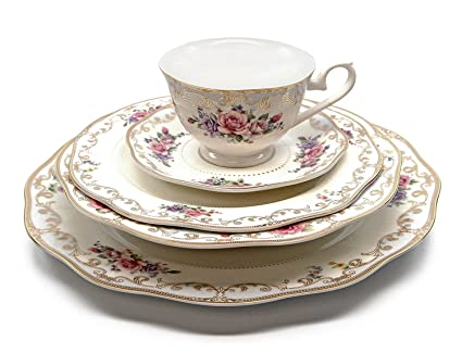 Royalty Porcelain u0026quot;Ruby Roseu0026quot; 5-Piece White u0026 Gold Floral Dinnerware Set  sc 1 st  Amazon.com : gold plated china dinnerware - pezcame.com