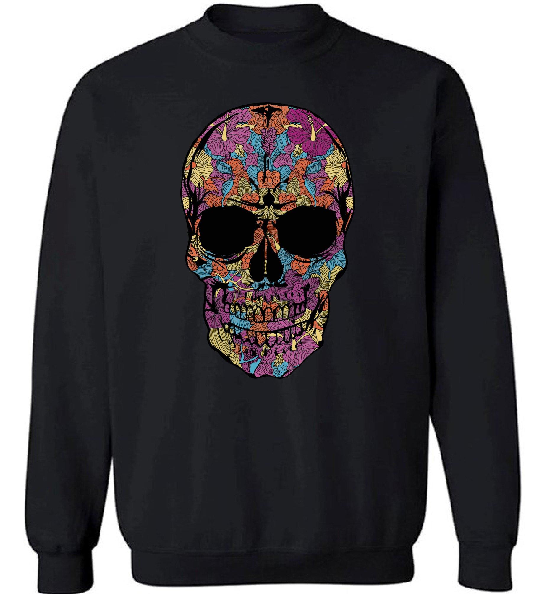 Pekatees Black Flower Skull Sweatshirt Sugar Skull Sweater Day of The Dead Gifts Black 3XL