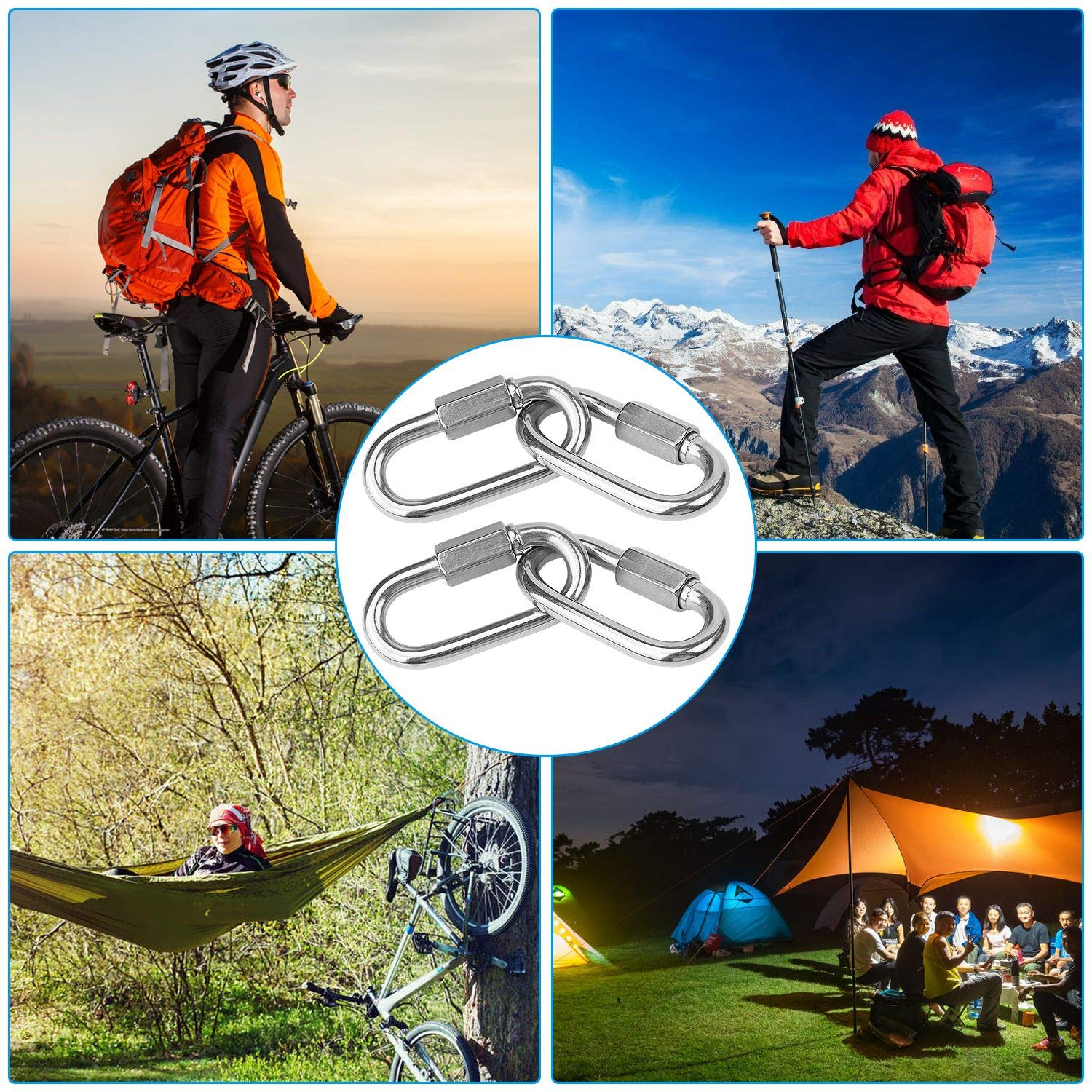 8Pack Stainless Steel 1//4 Quick Link Carabiner Clip 620lbs Capacity Locking Carabiner 2-3//8 Oval Locking Chain Links Outdoor and Gym Hammocks Hiking Heavy Duty Threaded Link for Camping Swing