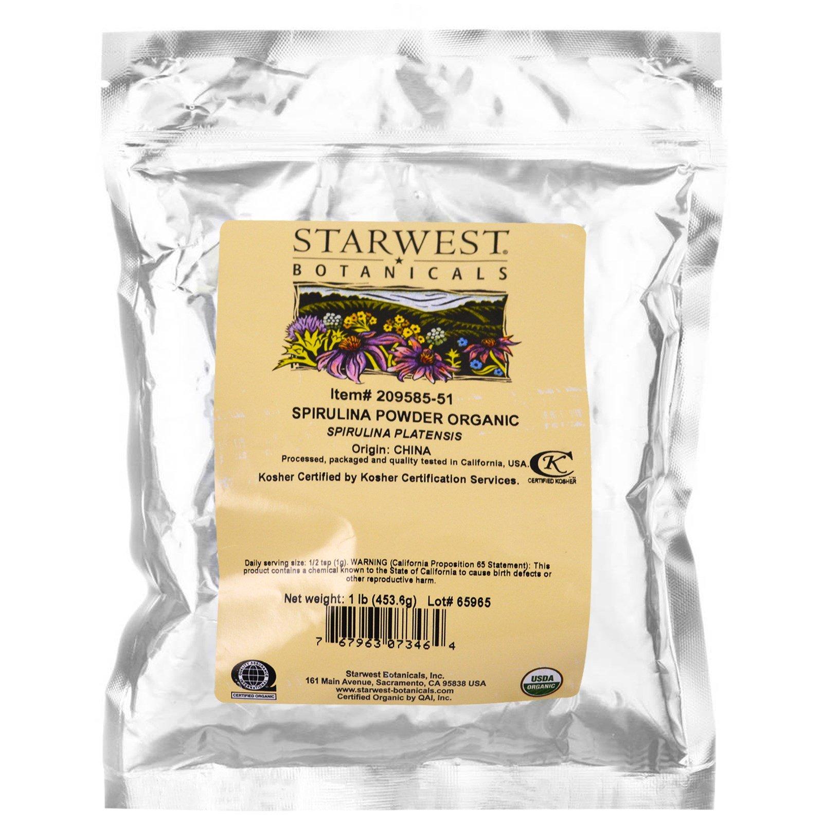 Starwest Botanicals, Spirulina Powder, Organic, 1 lb (453.6 g) - 3PC