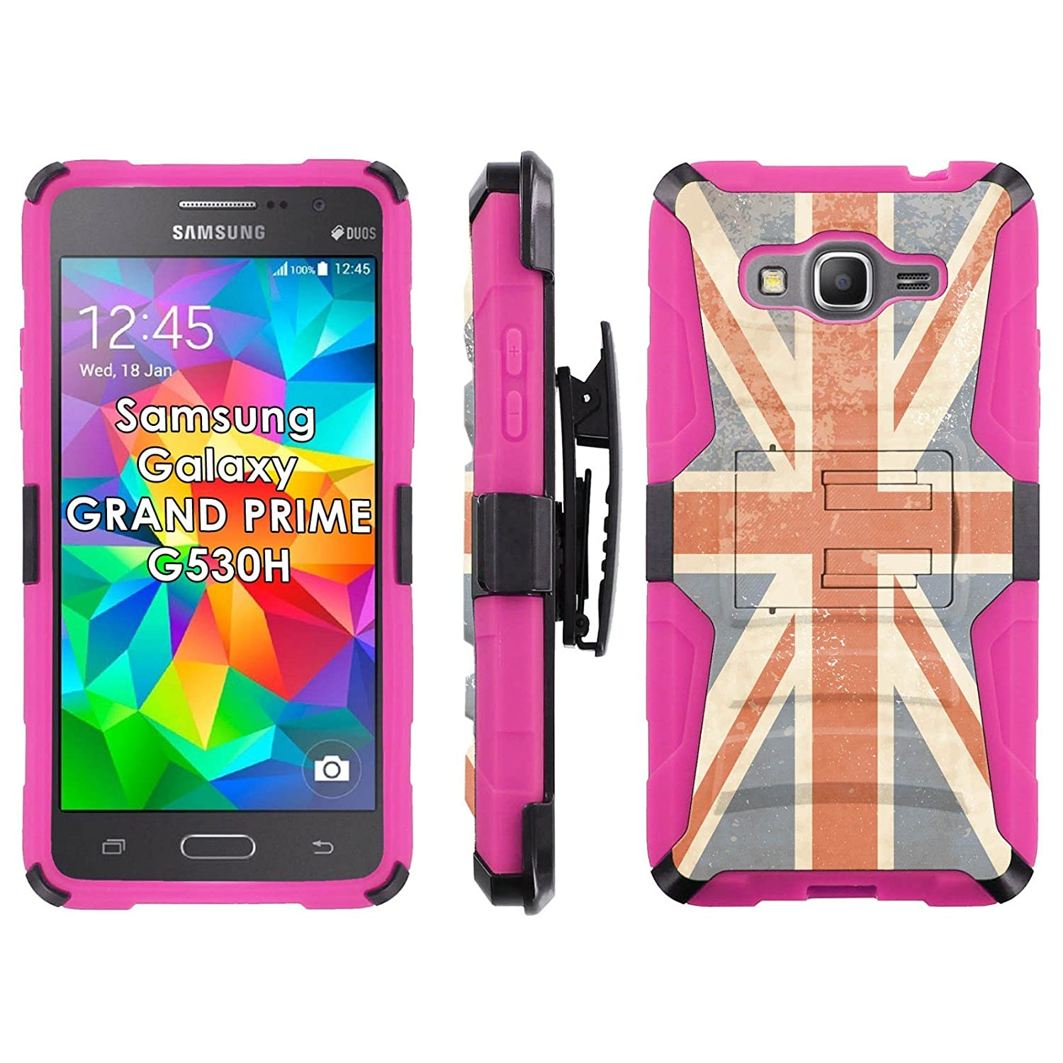 Amazon Samsung Galaxy [GRAND Prime] G530H Phone Cover Rustic Union Jack Hot Pink Blitz Hybrid Armor Phone Case for [Samsung Galaxy [GRAND Prime]