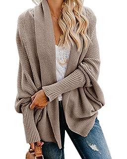 1da93620349 Imily Bela Womens Kimono Batwing Cable Knitted Slouchy Oversized Wrap  Cardigan Sweater
