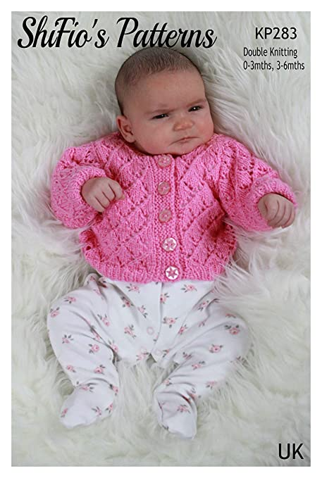 KP283 Double Knitting Knitting Pattern for Babies Lacy Girls Cardigan 0 to 3 Months and 3 to 6 Months