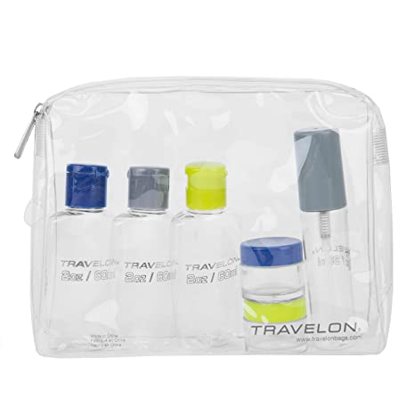 b09ceaed59b7 Travelon Luggage 1-Quart Zip-Top Bag with Plastic Bottles, Clear, Small,  Assorted Color caps: Amazon.ca: Luggage & Bags