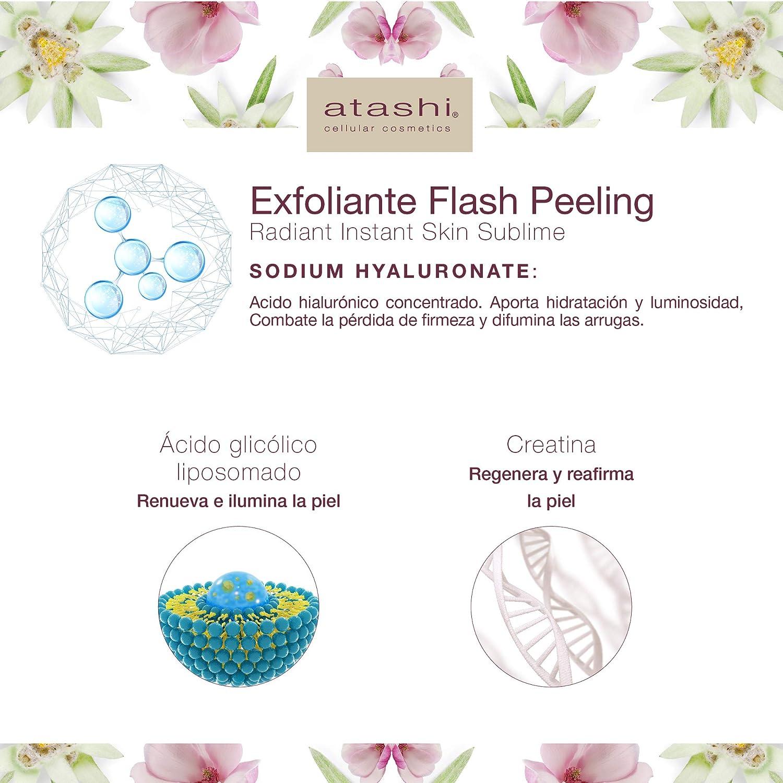 Atashi Firmeza y Luminosidad. Radiant Instant Skin Antifatigue | Gel Efecto Flash Peeling | Exfolia e hidrata | Ácido Glicólico y Ácido Hialuronico | ...