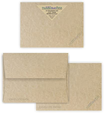 Amazoncom 5X7 Blank Cards with A7 Envelopes Brown Parchment