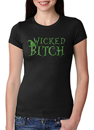 28a3c4e8b6 Womens Wicked B*tch Funny Halloween T Shirt for Ladies (Black) 3XL:  Amazon.co.uk: Clothing