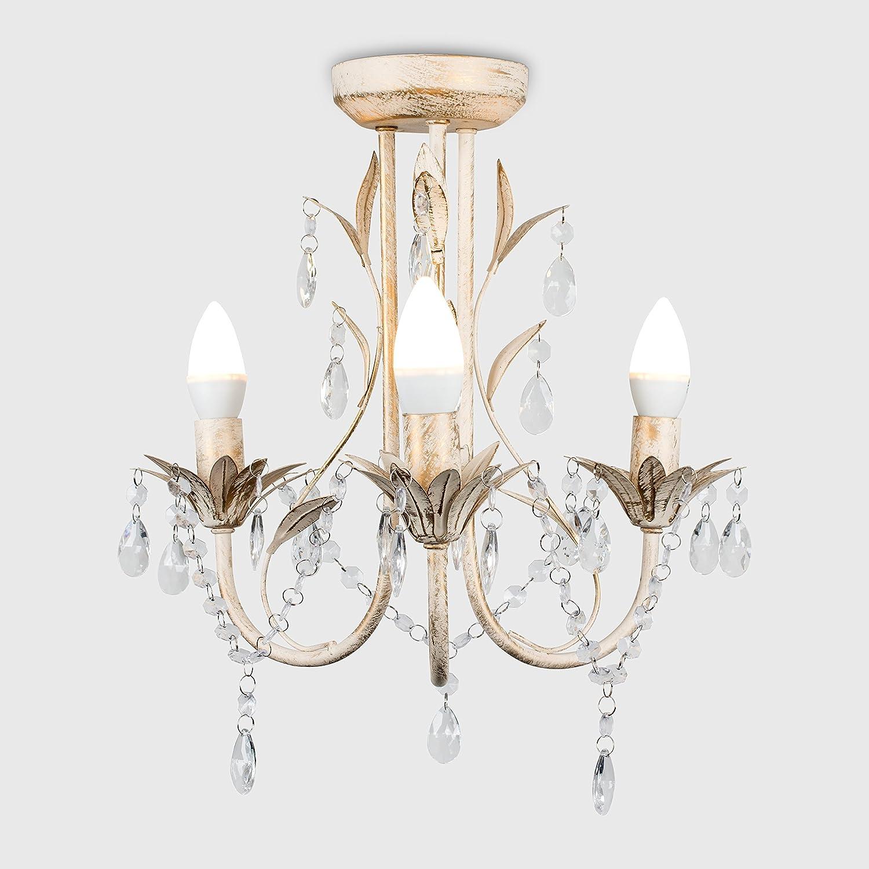 MiniSun – Lámpara araña Odelia vintage - 3 luces y decorada en crema y gotas acrílicas