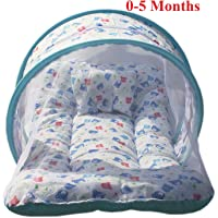 Nagar International Baby Luxury and High Quality Toddler Bedding Set with Mosquito Net in Cotton Fabbric (Mt-01 Blue, 0-5 Months)