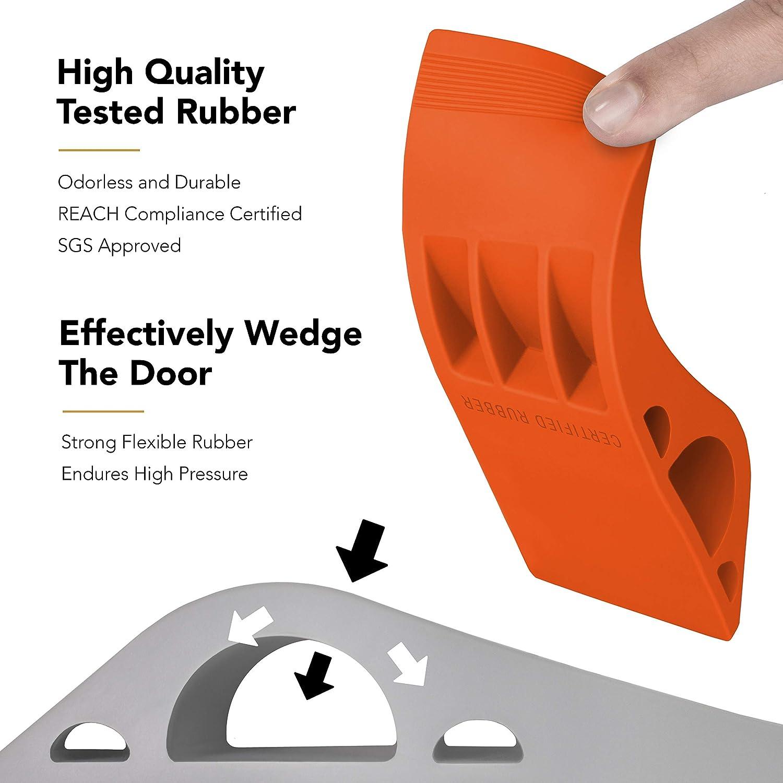 3 Pack Red Wundermax Door Stopper Rubber Door Stop Wedge Security Door Stops with Door Holder Rubber Door Stoppers Works On All Floor Types and Carpet Heavy Duty Door Jam
