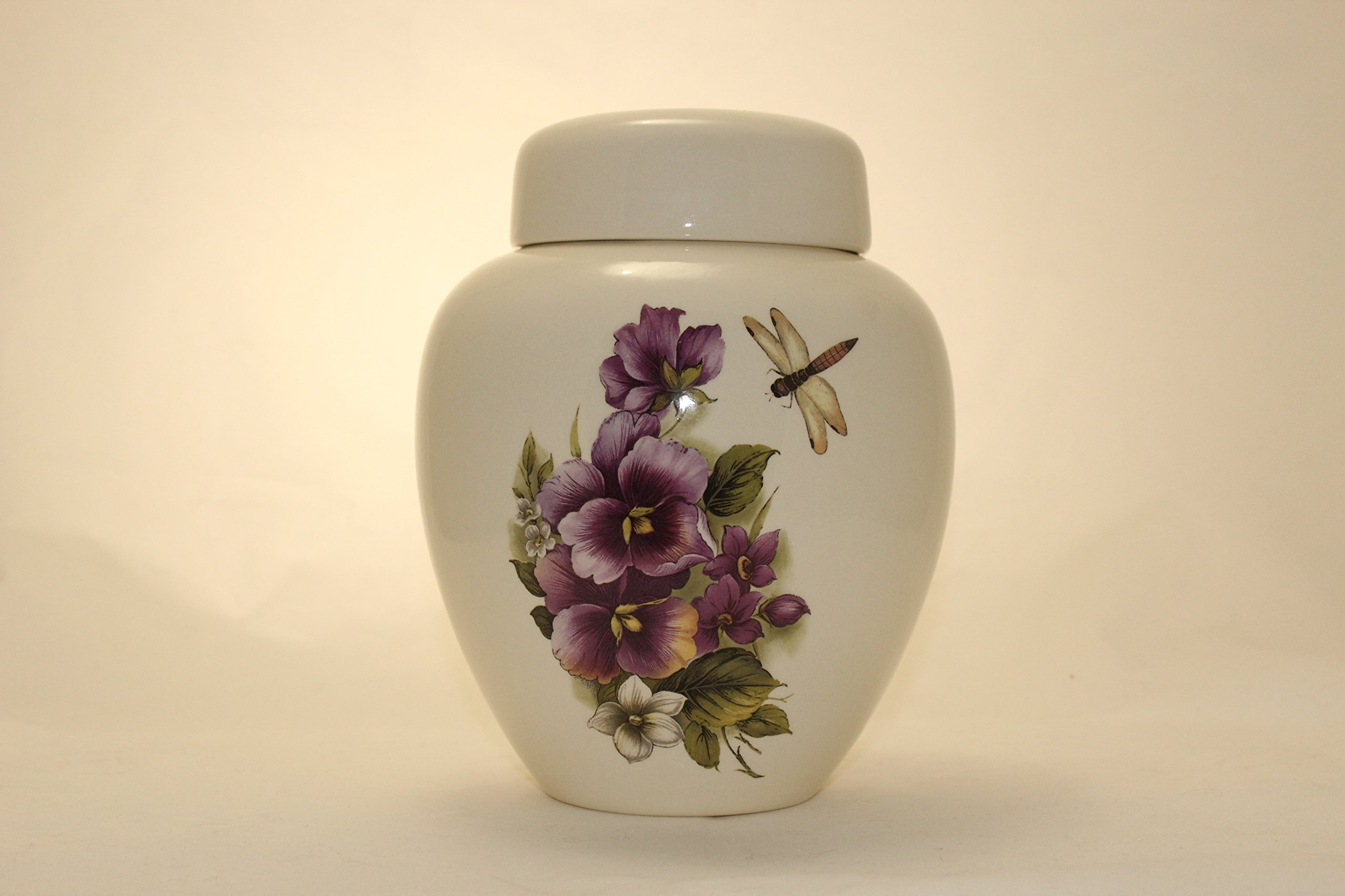 Pansy and Dragonfly - Flower Funeral Urn - Cremation Urn for Human Ashes - Hand Made Pottery