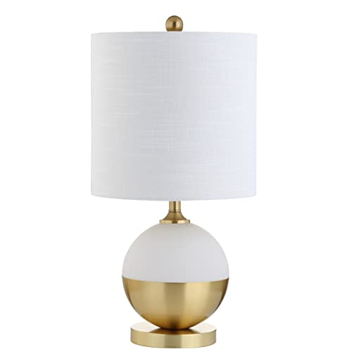 23.5 Ceramic Metal LED Table Lamp, White Brass, Modern, Bulb Included