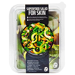 Farm Skin Superfood Salad Facial Sheet Mask for Skin Avocado for Unisex, 7Count