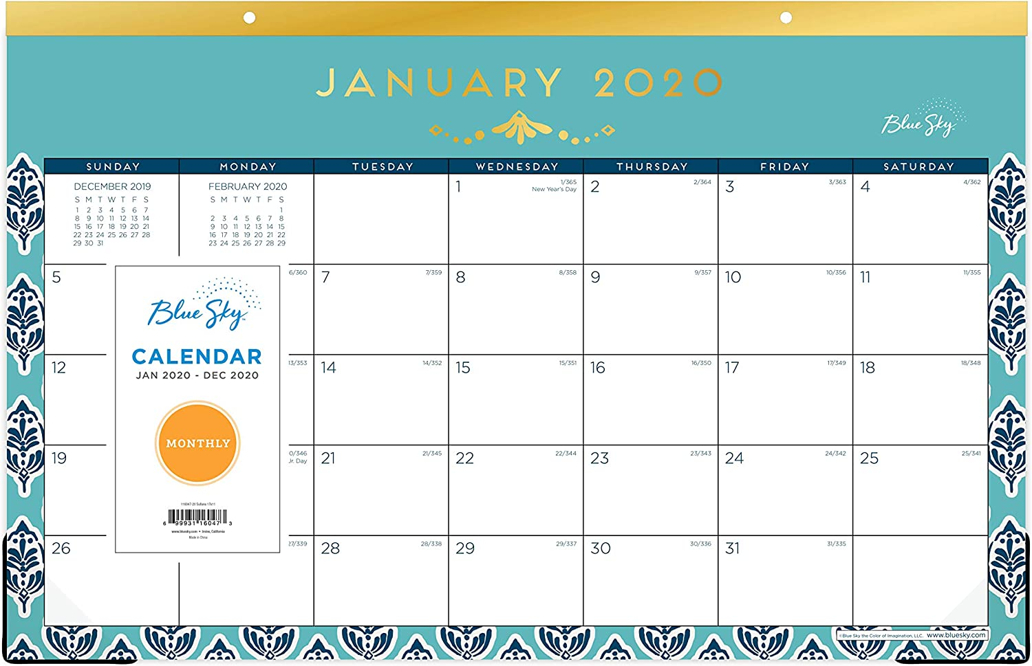 Blue Sky 2020 Monthly Desk Pad Calendar, Trim Tape Binding, Two-Hole Punched, 17