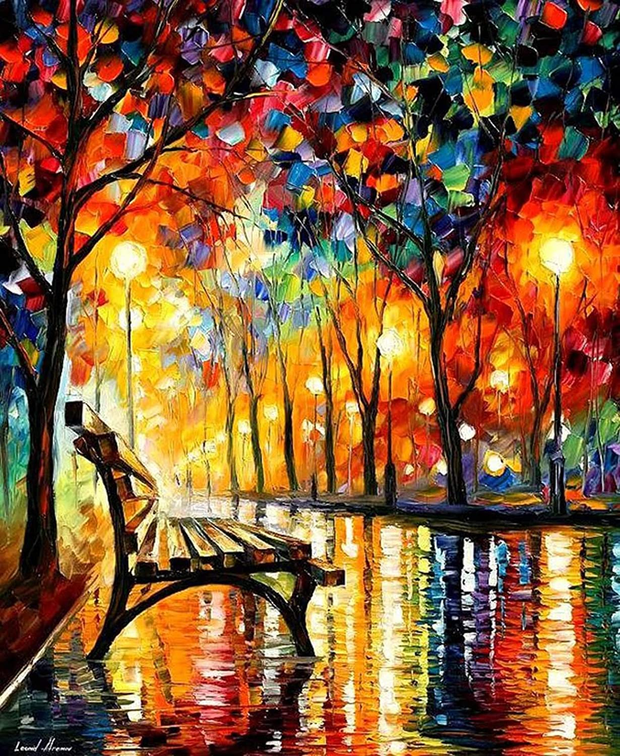 Kaliosy 5D Diamond Painting Painting of Park Bench on Rainy Night by Number Kits Paint with Diamonds Art for Adults DIY Crystal Craft Full Drill Cross Stitch Decoration 12x16inch