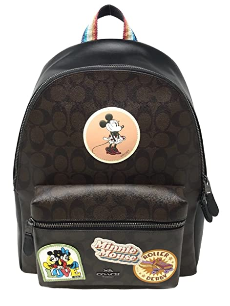 48bed412e Coach X Disney Minnie Mouse Charlie Backpack Signature Canvas Leather F29355  Brown Black: Amazon.ca: Shoes & Handbags