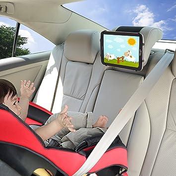 Soporte de iPad para el Coche TFY Soporte de iPad para Reposacabezas de Coche con Malla de Silicona para Sujetar Teléfonos Móviles ...