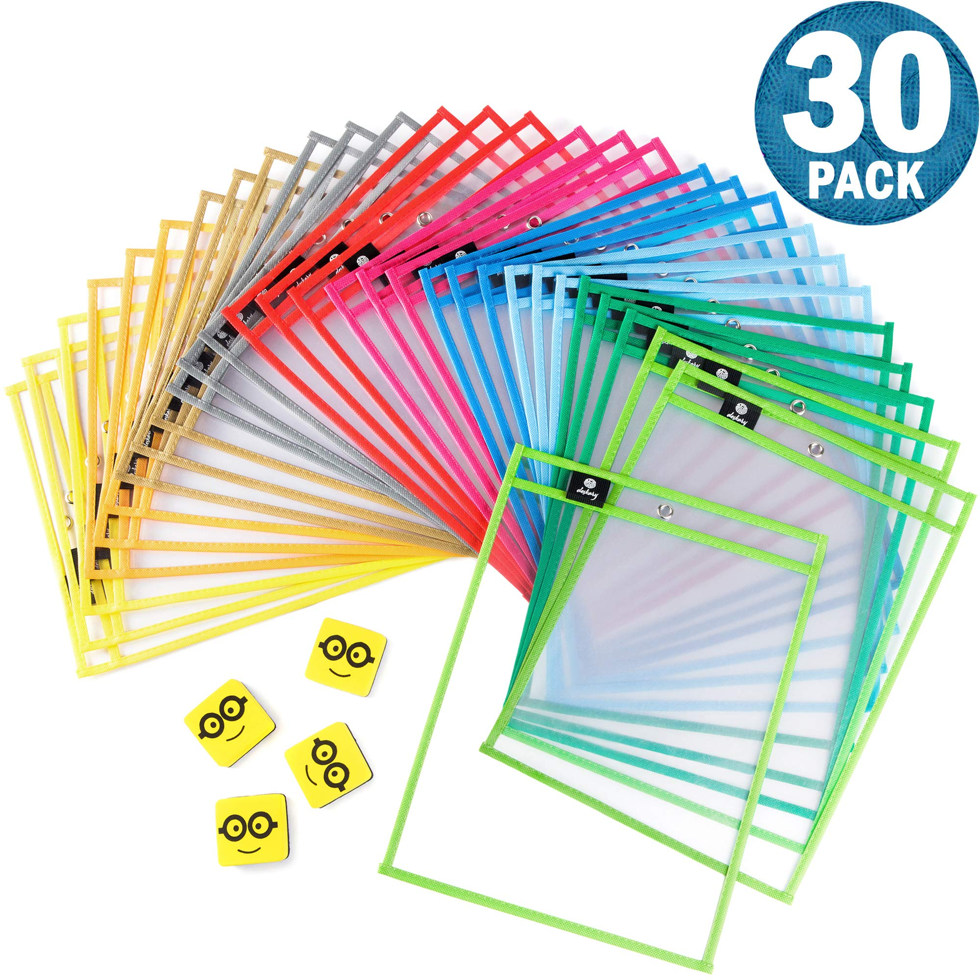 Dry Erase Pockets Reusable Sleeves - 30 Pack, Heavy Duty Oversized 10x14'' Clear Plastic Sheet Paper Protectors, 10 Assorted Colors, Teacher Supplies for Classroom, School & Homeschool Organization by Deskary