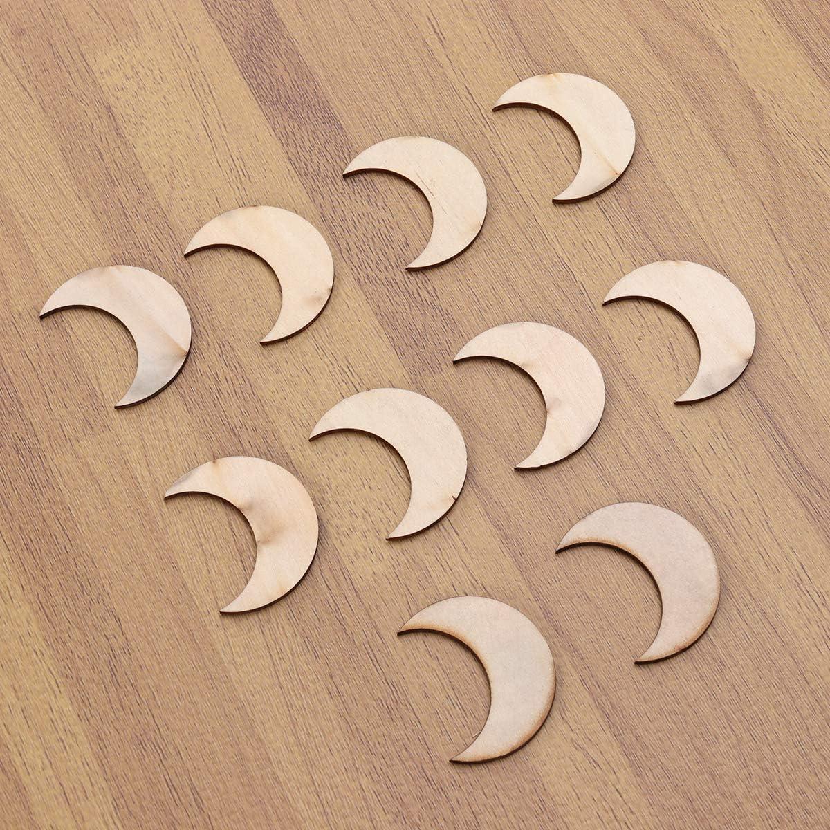 Amosfun Holz Mond Holzscheiben Scrapbooking DIY Holzst/ücke 52 mm 20 St/ück