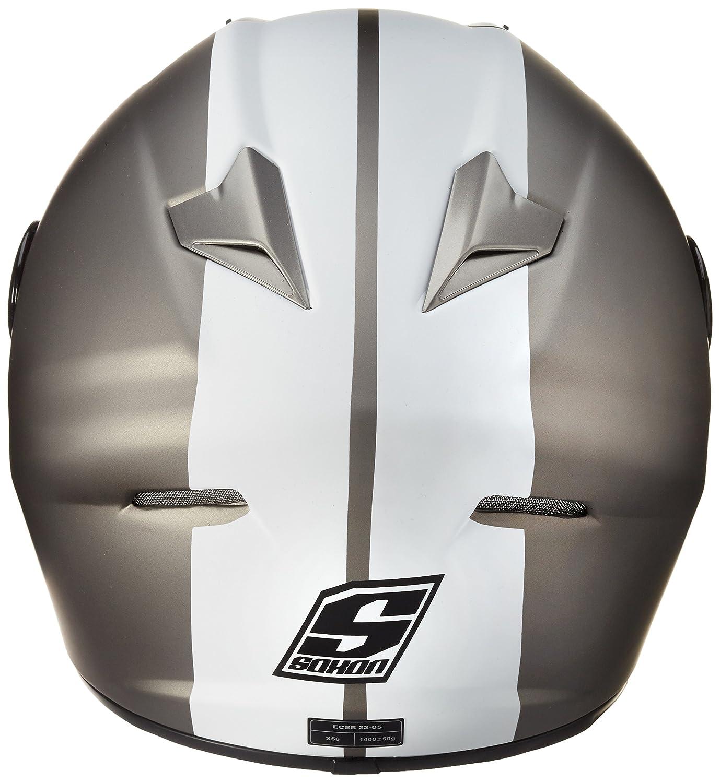 59-60cm SOXON ST-666 Deluxe Snow /· Urban Cruiser Sport Urbano Moto Scooter Casco Integrale Helmet /· ECE certificato /· compresi parasole /· compresi Sacchetto portacasco /· Nero//Bianco /· L