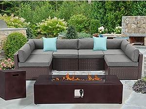 SUNBURY Outdoor Sectional 8-Piece Dark Brown Wicker Sofa Patio Furniture Set w 50,000 BTU Rectangle Fire Pit Table Wind Glass Guard, 2 Blue Pillows, Dark Grey Cushions, Weatherproof Cover for Backyard
