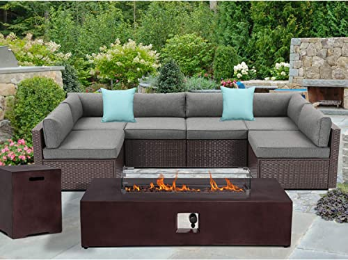 SUNBURY Outdoor Sectional 8-Piece Dark Brown Wicker Sofa Patio Furniture Set w 50,000 BTU Rectangle Fire Pit Table Wind Glass Guard