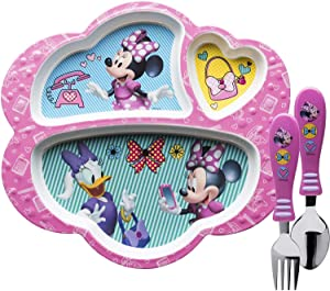 Zak Designs Disney Dinnerware Set Includes Melamine 3-Section Divided Plate and Utensil Made of Durable Material and Perfect for Kids, Flatware, Minnie Mouse 3pc