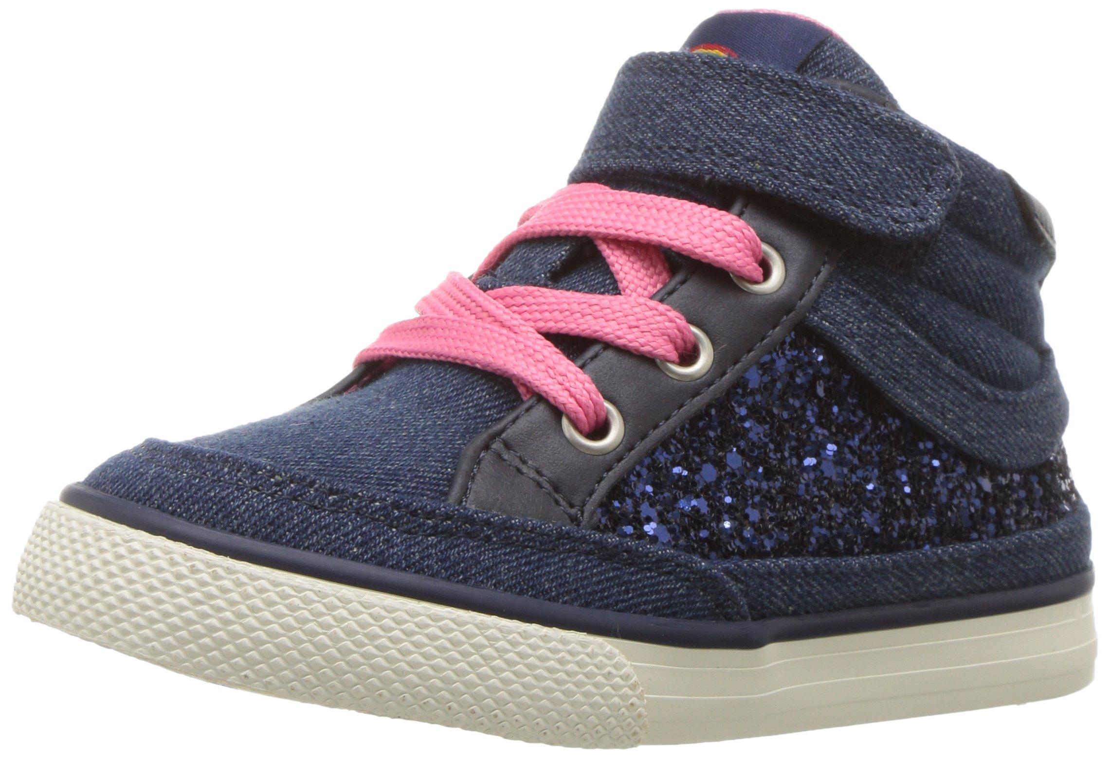 Hanna Andersson Girls' Teo Glitter High Top Sneaker, Navy, 3 M US Little Kid