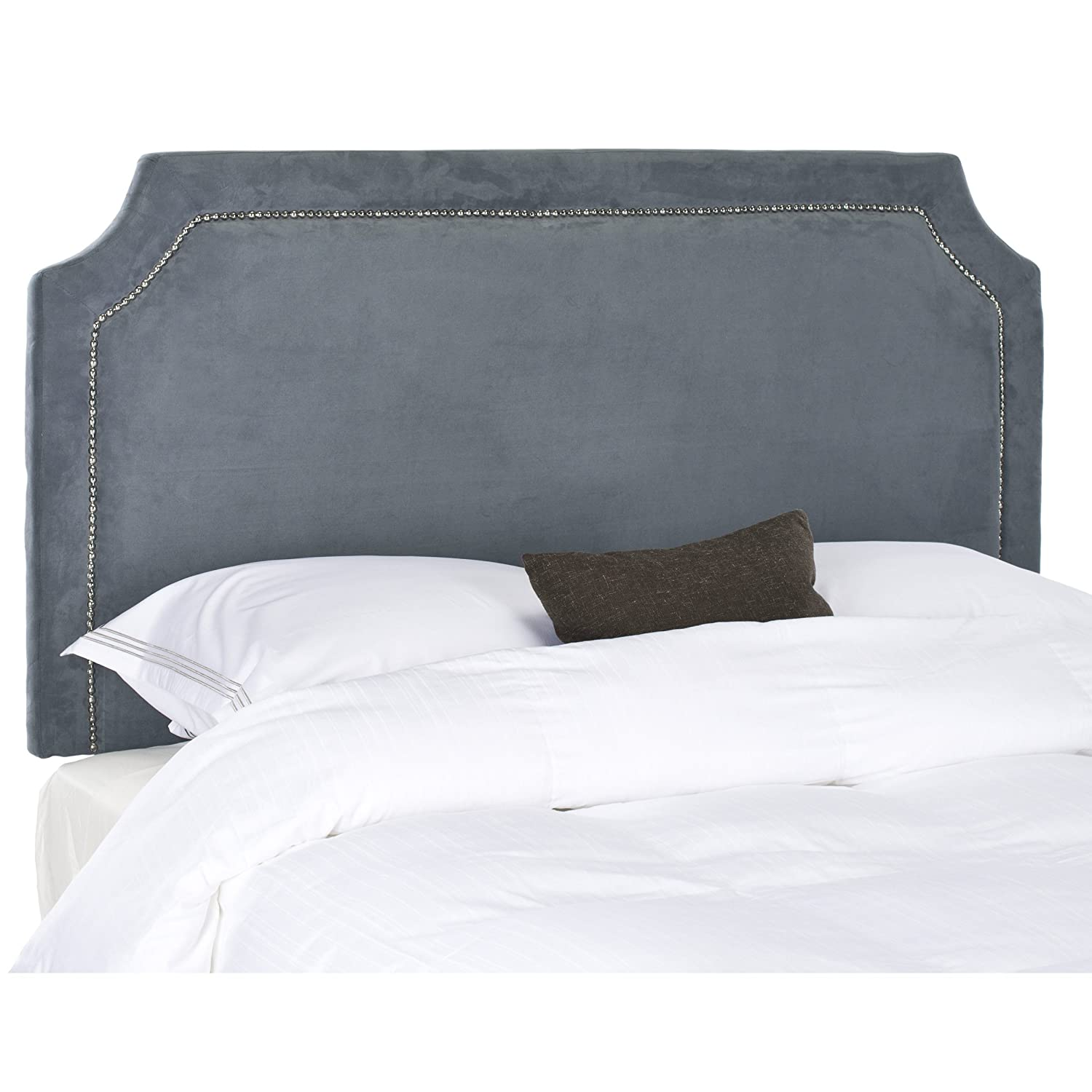 nailhead amazon com headboard shayne upholstered queen grey safavieh suede silver dp