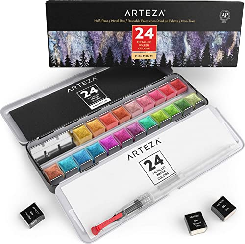 Arteza Metallic Watercolor Paints, Set of 24 Half Pans, Pearl Paint, Vibrant and Pearlescent Hues, Includes Storage Tin & Water Brush, Art Supplies
