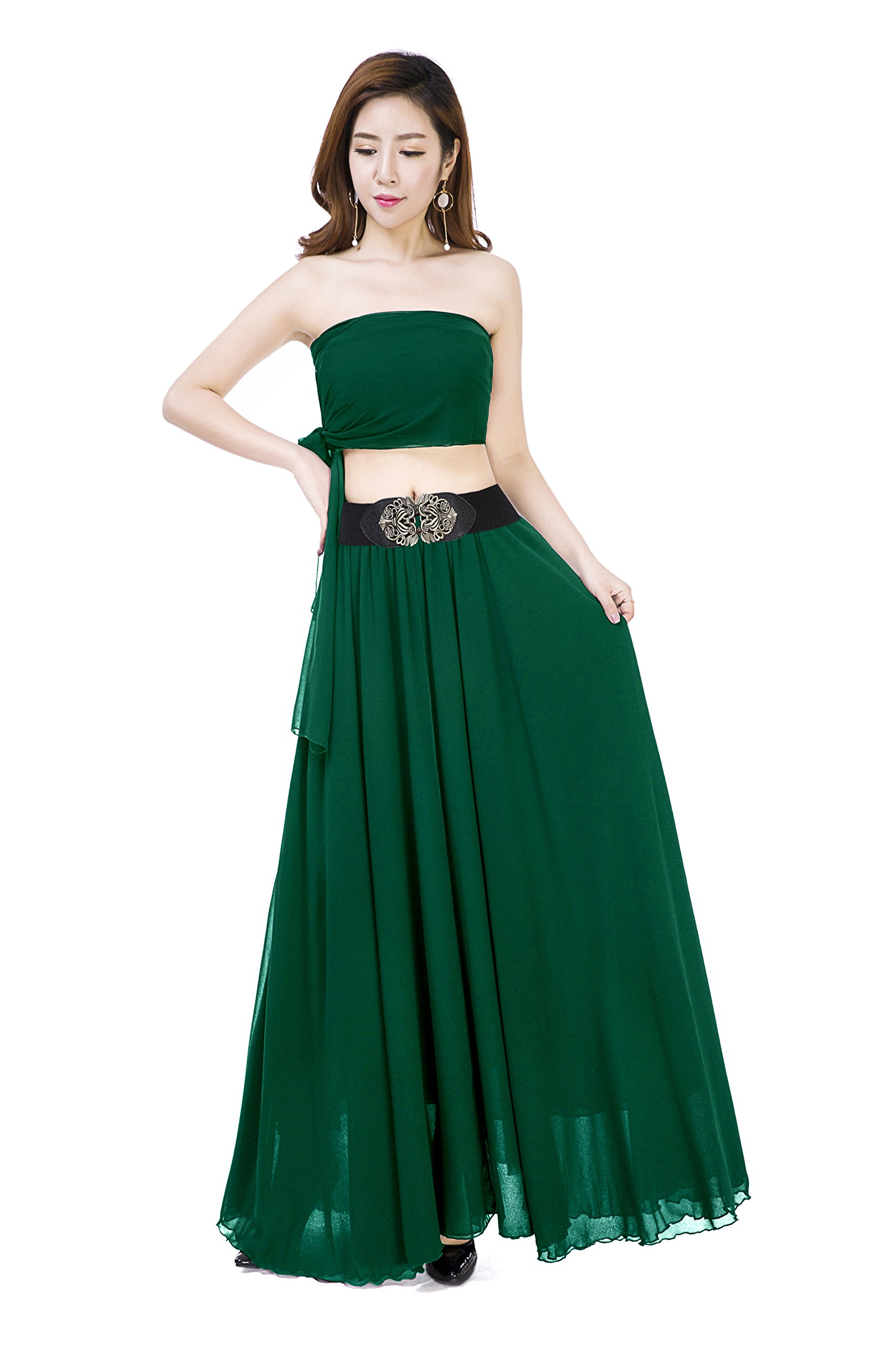 Sinreefsy Women Summer Chiffon High Waist Pleated Big Hem Full/Ankle Length Beach Maxi Skirt(Medium/Jade Green)