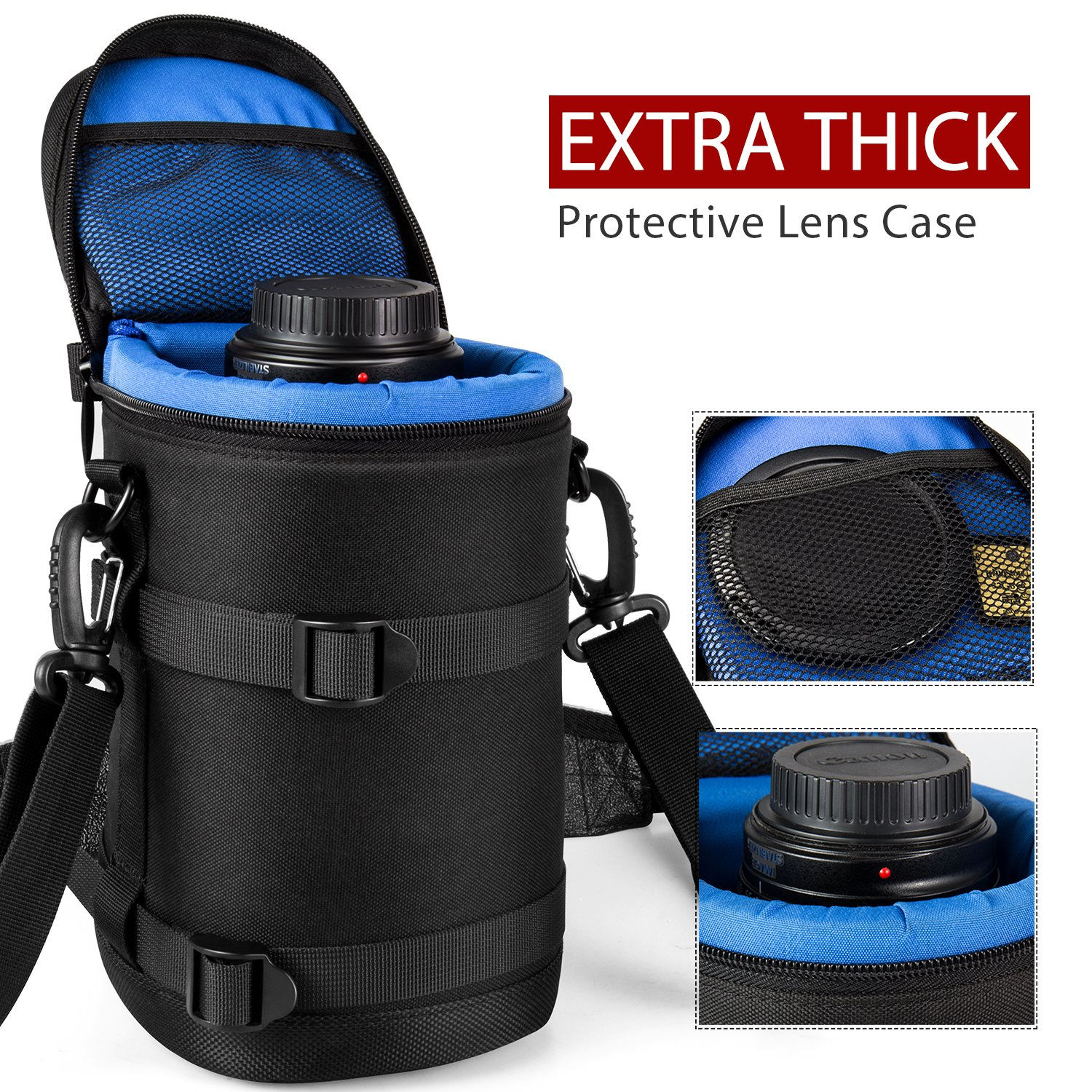 ESDDI Lens Case Extra Thick Protective Neoprene Lens Pouch for DSLR Camera Lens Canon, Nikon, Pentax, Sony, Olympus, Panasonic