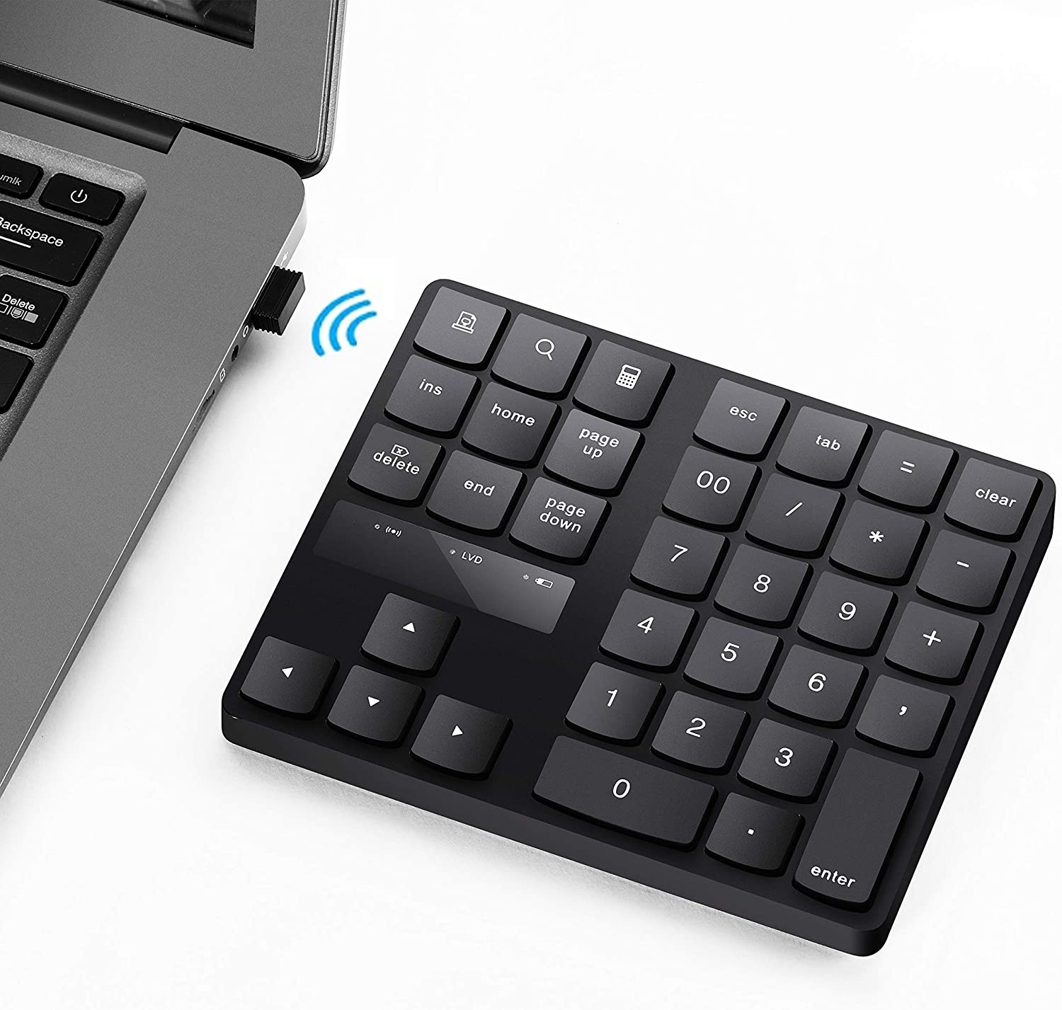Numeric Keypad, 35-Keys Portable USB Wireless Numeric Keypad Rechargeable Ultra-Silent External Numeric Pad for MacBook/MacBook Pro/Air and Windows Laptop (Black)