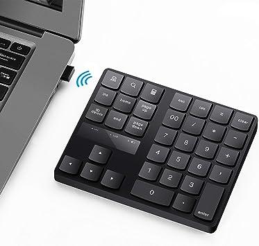 Teclado numérico, teclado numérico portátil USB de 35 teclas teclado numérico inalámbrico recargable ultra silencioso externo para MacBook/MacBook ...