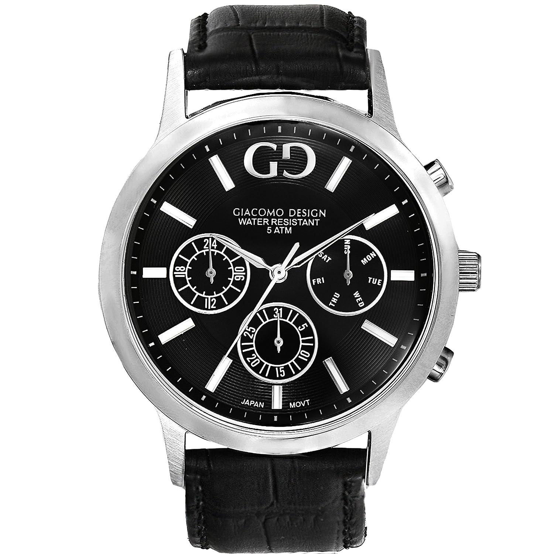 Giacomo Design GD07001 Herren-Armbanduhr Lederband Datum