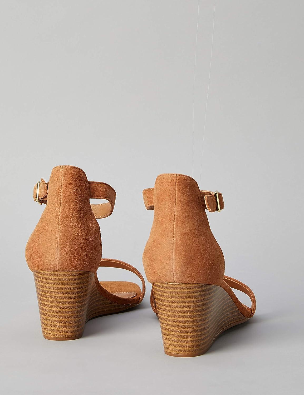 Wedge Leather Damen Peeptoe Sandalen find