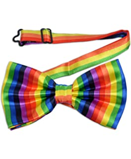 Mens Rainbow Pride Striped Formal Pretied Bow Tie Neckwear