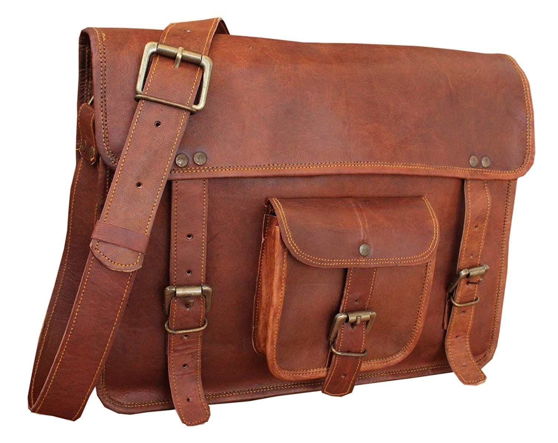 RK 15'' vintage leather messenger shoulder bag for men and women