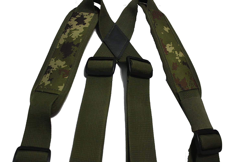 MeloTough Tactical Heavy Duty Suspenders,Police Suspenders for Duty Belt Suspenders with Padded Adjustable Tool Belt Suspenders Camo Green