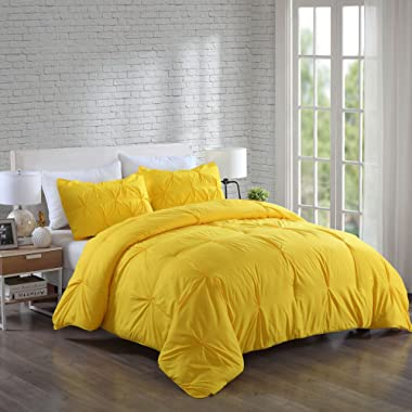 Lotus Home Water and Stain Resistant Pintuck Comforter Set, Full/Queen, Yellow