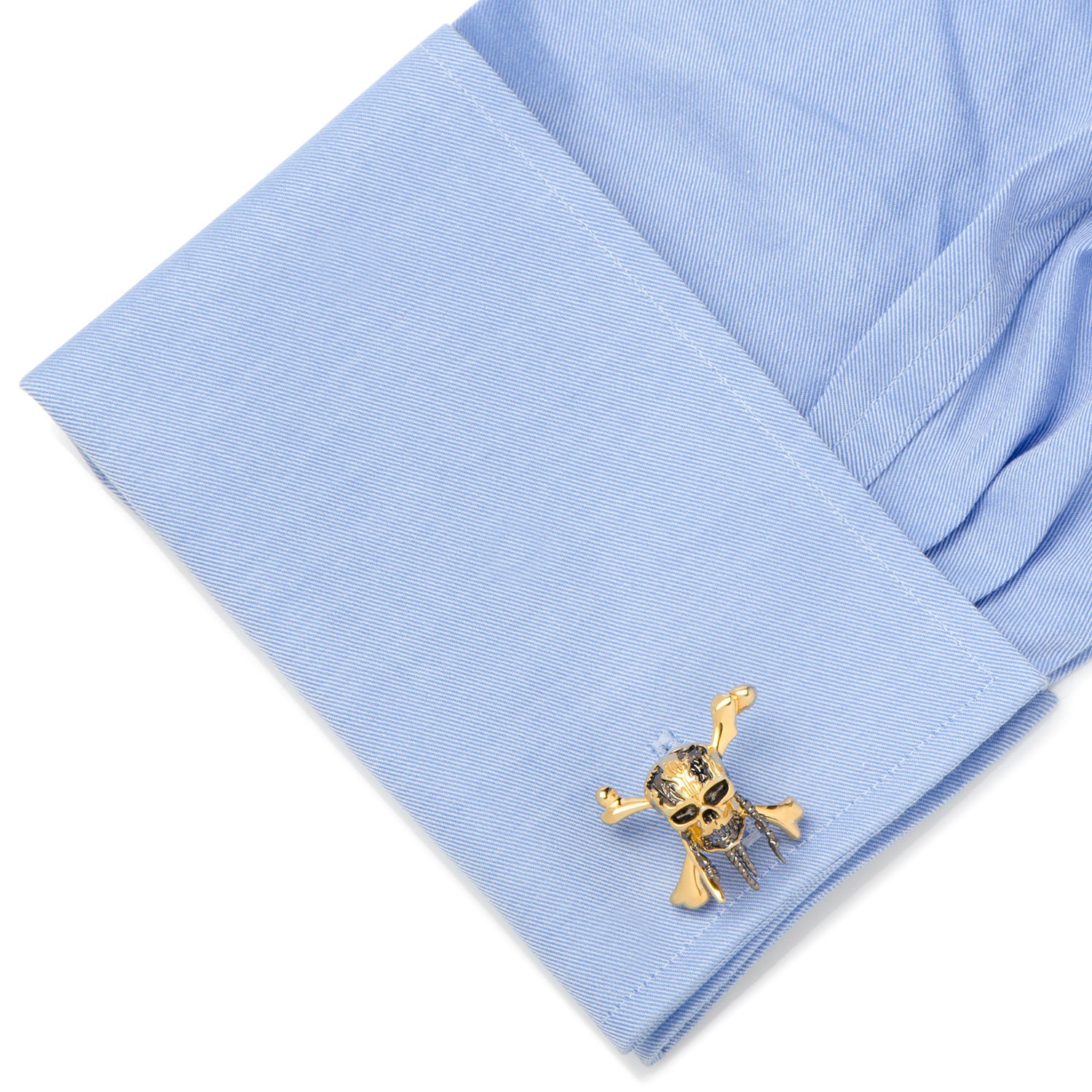 Disney 3D Black and Gold Skull and Crossbones Cufflinks, Officially Licensed by Cufflinks (Image #3)