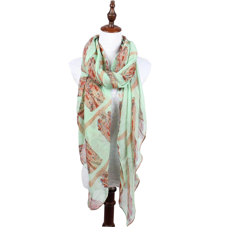 軽量フラミンゴスカーフの女性 B07B455NHN グリーン グリーン