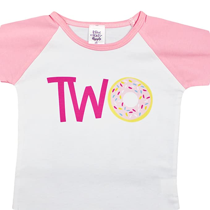 Two Donut 2nd Birthday Shirt For Girls Pink Raglan Baseball Tee Second Girl