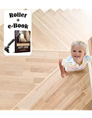 A1 Gear Stair Treads Non-Slip - (15 Pack) Pre Cut Clear Anti Slip Tape - 24 inches x 4 inches - Indoor and Outdoor Removable Step Strips - Safety for Kids, Elders and Dogs - with Roller and eBook KIT